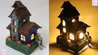 DIY Haunted House Lamp For Halloween / How to make Ghost House / Halloween Lantern / Manualidades