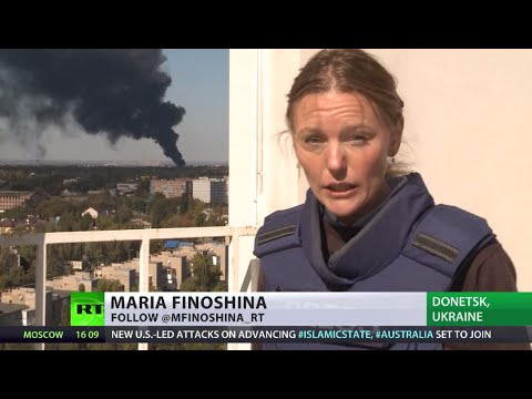 Donetsk airport battle destruction - RT's Maria Finoshina reports from scene