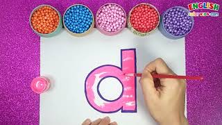 How To Draw d Lowercase for Anphabet   English Color Kids