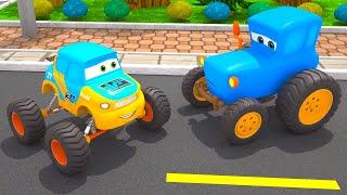 Obstacle Race Blue Tractor vs Monster Truck | Motorville - Car Cartoon for Kids