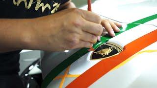 Tricolore Stripe Precision Laying on Lamborghini Aventador SVJ