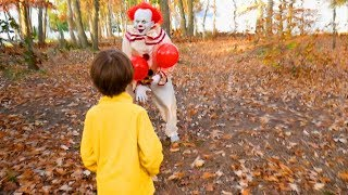 Scary Clown Pennywise From It Sets a Halloween Candy Trap For Us in the Woods!