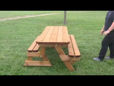 Table convertible en banc youtube for Banc et table de jardin