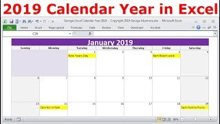 2019 Calendar Year in Excel, 2019 Monthly Calendars, Year 2019 Calendar with Holidays, 2019 Planners