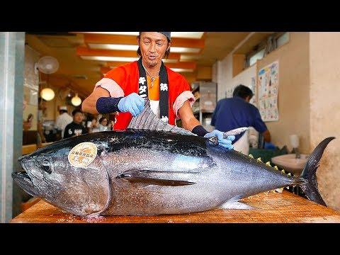 Japanese Street Food - BLUEFIN TUNA CUTTING SHOW & SUSHI / SASHIMI MEAL