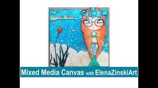 Mixed Media Canvas - Mermaid with Shaker Tail :)