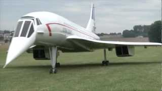 A huge Concorde RC plane powered by two turbines.