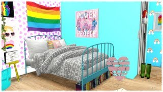 The Sims 4: Speed Build // 🌈 RAINBOW BEDROOM 🌈 + CC LINKS