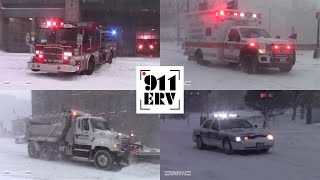 City of Boston Fire, EMS, Police, and Plows In Action During Winter Storm Niko