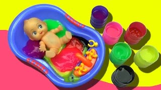 New Baby Bathing Video with Slime, Funny Baby Feeding, Baby Bath Videos