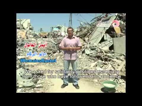 Rubble Bucket challenge in Gaza. Ice Bucket  challenge in #Gaza