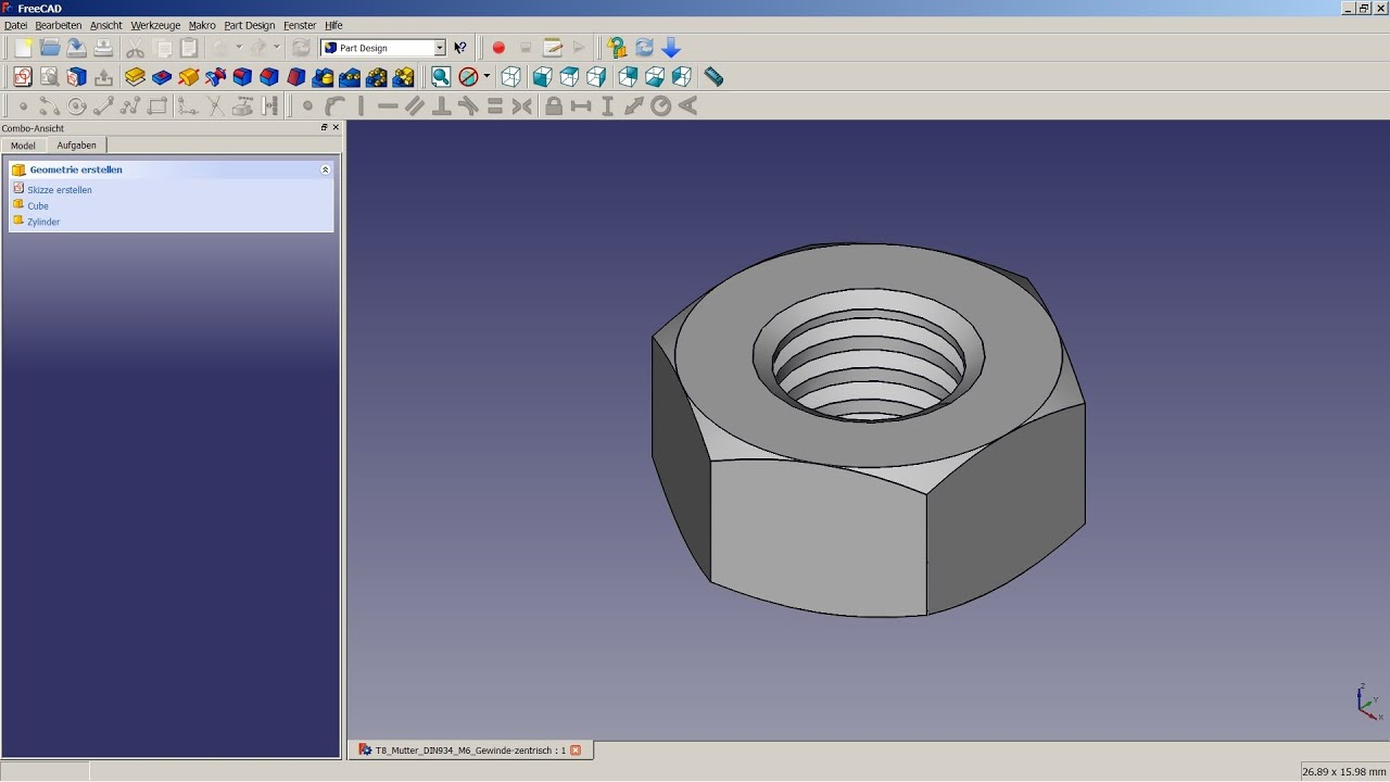 Freecad tutorial 08 innengewinde youtube Free cad software for 3d printing
