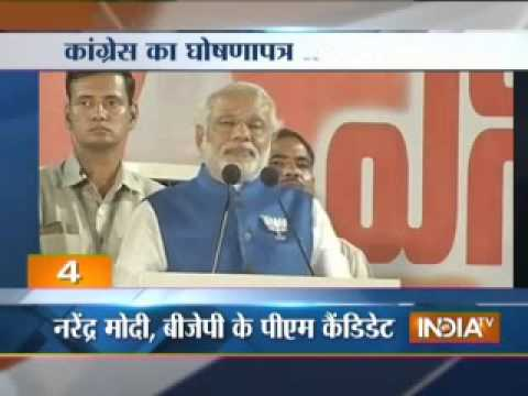 Modi takes on Congress manifesto klip izle