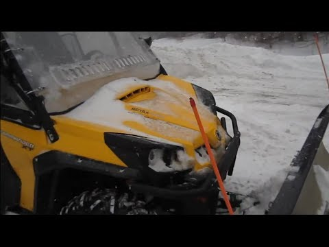 2012 Can Am Commander 1000xt Plowing Deep Snow - Can-Am Commander XT 1000 ATV Snow Plow