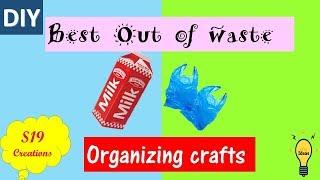 DIY   Best Out of Waste Organizing crafts   how to make plastic bag dispenser   carton crafts