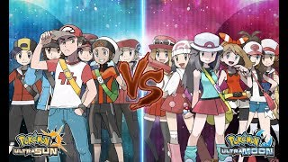 Pokemon USUM: Red, Ethan, Brendan, Lucas, Hilbert, Calem Vs Leaf, Lyra, May, Dawn, Hilda, Serena