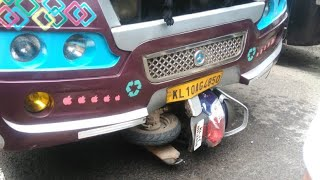 Horrible scooter vs bus accident in Kerala   A lucky escape