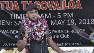 Watch Tua Tagovailoa honor Alabama teammates, family & friends during hometown celebration in Hawaii
