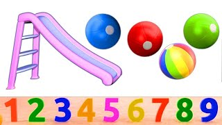 Educational Playground Slide Balls Collection For Kids - Learn Colors Numbers Shapes 3D