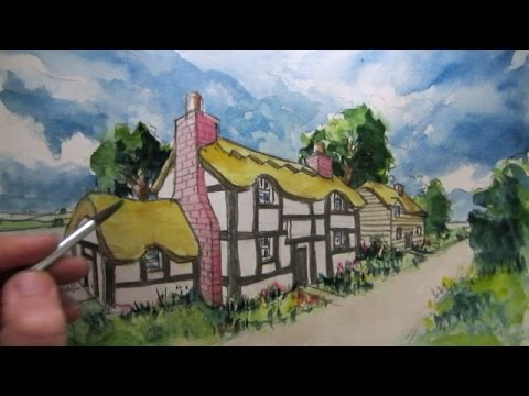 How to Draw a House in 2 Point Perspective, Part 2: Colour Wash