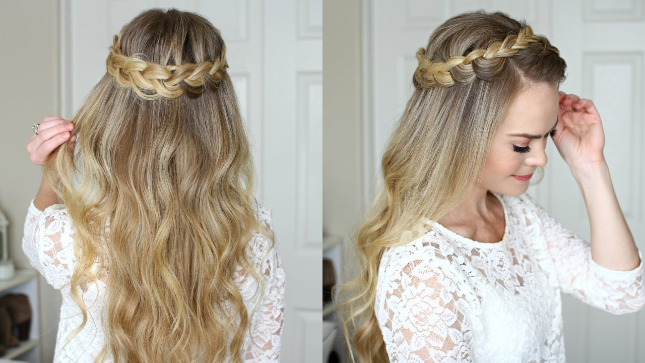 Dutch crown braid half up
