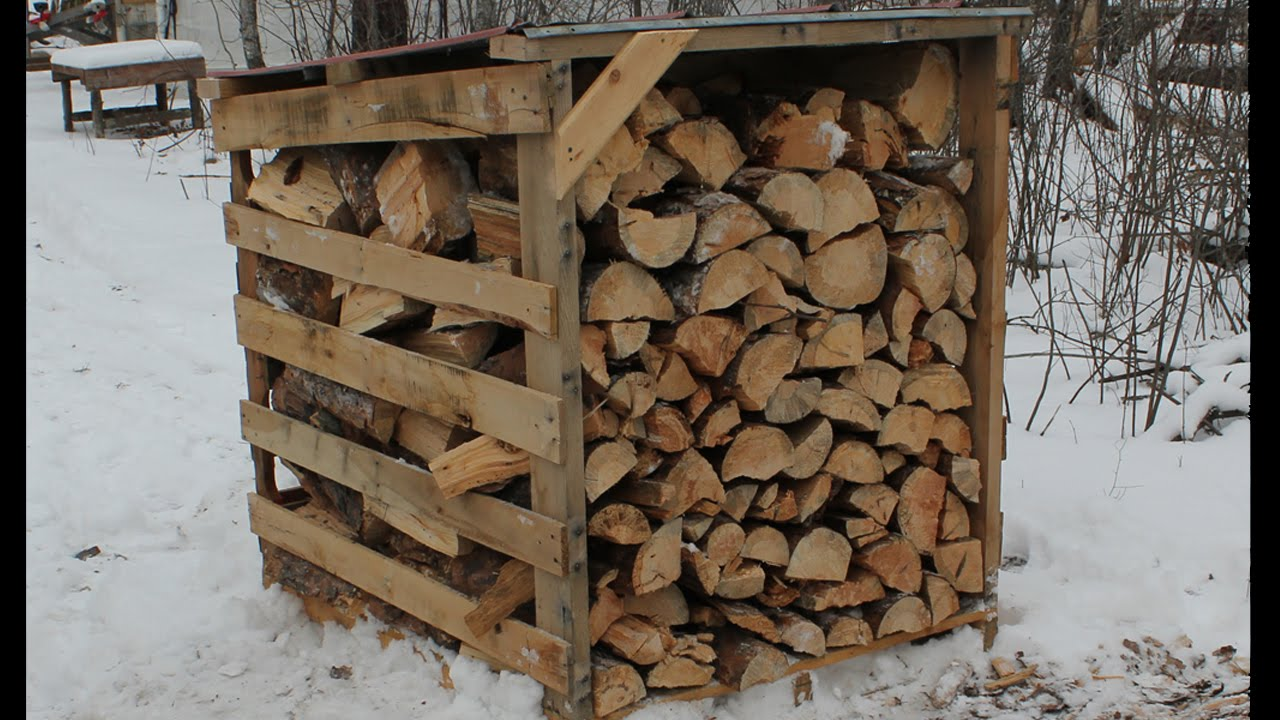 Firewood Storage The Easy Way - Pallet Wood Sheds - YouTube