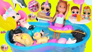 LOL SURPRISE Dolls Visit Barbie Chelsea Color Changing Pool and Unicorn Family at Strange Ocean