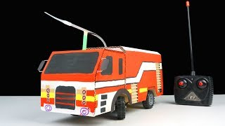 How to Make Remote Control Fire Truck at Home from Cardboard - Diy Rc Car