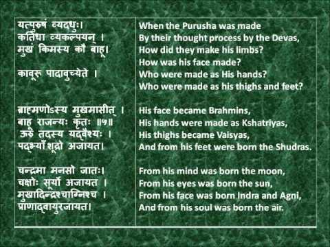 Rig Veda Full Purusha Suktam Devanagari Sanskrit English Translations.wmv video