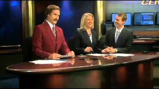 Will Ferrell as Ron Burgundy joins North Dakota TV newscast