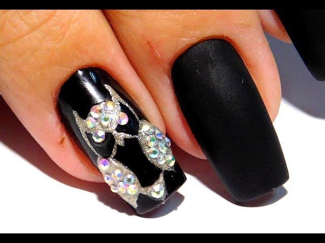 Дизайн ногтей гель лаком и стразами . Простой и модный маникюр  2017 #маникюр