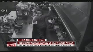 Man attacks employees with meat cleaver after being asked to show identification