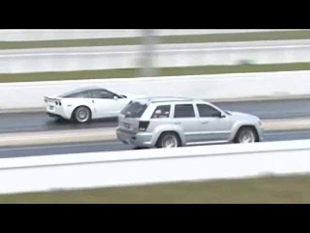 Corvette ZR1 vs Jeep SRT Drag Racing 1/4 Mile