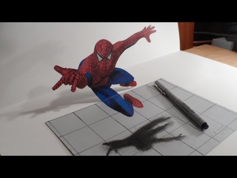 Anamorphic Illusion, Drawing a 3D Spiderman