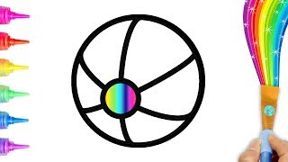 Drawing Beach Ball/ Coloring for Toddlers, Kids Learning Colors Numbers | Creative World