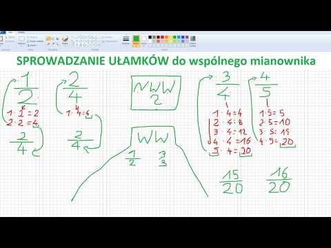 Sprowadzanie Ułamków Do Wspólnego Mianownika - Matematyka Szkoła Podstawowa
