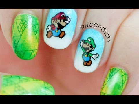 Super Mario Bros!  DIY Nail Stickers Using Nail Stamping!