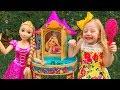 Nastya plays with a magic beauty Rapunzel