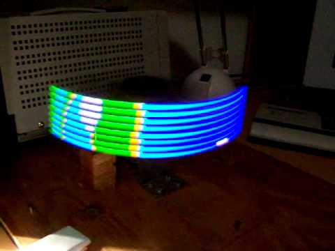 Retrobrad Presents! A Flying animation on a spinning LED display.