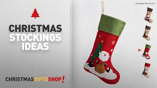 "Top Christmas Stockings Traditional: iPEGTOP 18"" Burlap Christmas Stocking, Large Craft Socks"