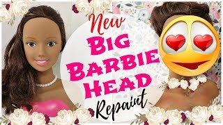 MY PRETTIEST BIG BARBIE DOLL REPAINT / How To Draw Realistic Doll Face, Eyes, Lips, Teeth, Smile