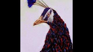 Вышивка павлинов лентами с описанием работы
