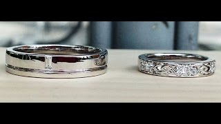 His & Her Celtic Design 18K White Gold Wedding Bands from Bangkok, Thailand
