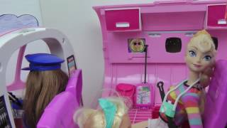 AIRPLANE ! ELSA toddler gets AIRSICK in Barbie's Plane   Travel Adventure   Vacation