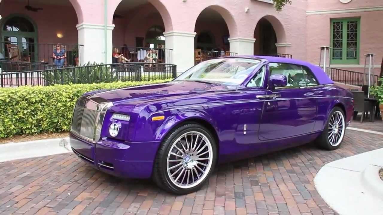 rare 1 of 1 purple rolls royce phantom drophead coupe
