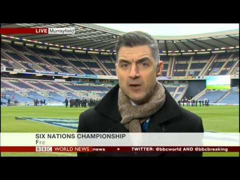 BBC Sport correspondent Joe Wilson battles the national anthems at Murrayfield