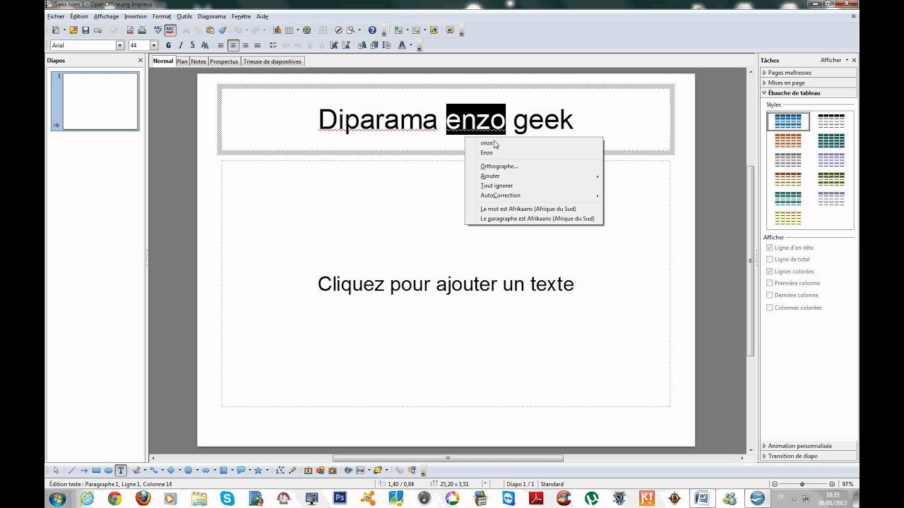 Faire un diaporama avec open office youtube - Faire un camembert sur open office ...