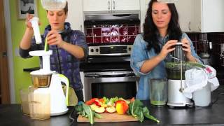 Juicers - Hurom Slow Juicer vs. Breville Centrifugal Juicer - Juicing demo