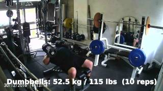 Dumbbell Bench Press 52.5kg (115 lbs) x 10 reps