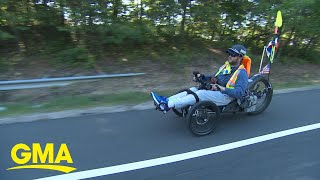 Monday Motivation: Paralyzed man rides his wheelchair from LA to DC l GMA
